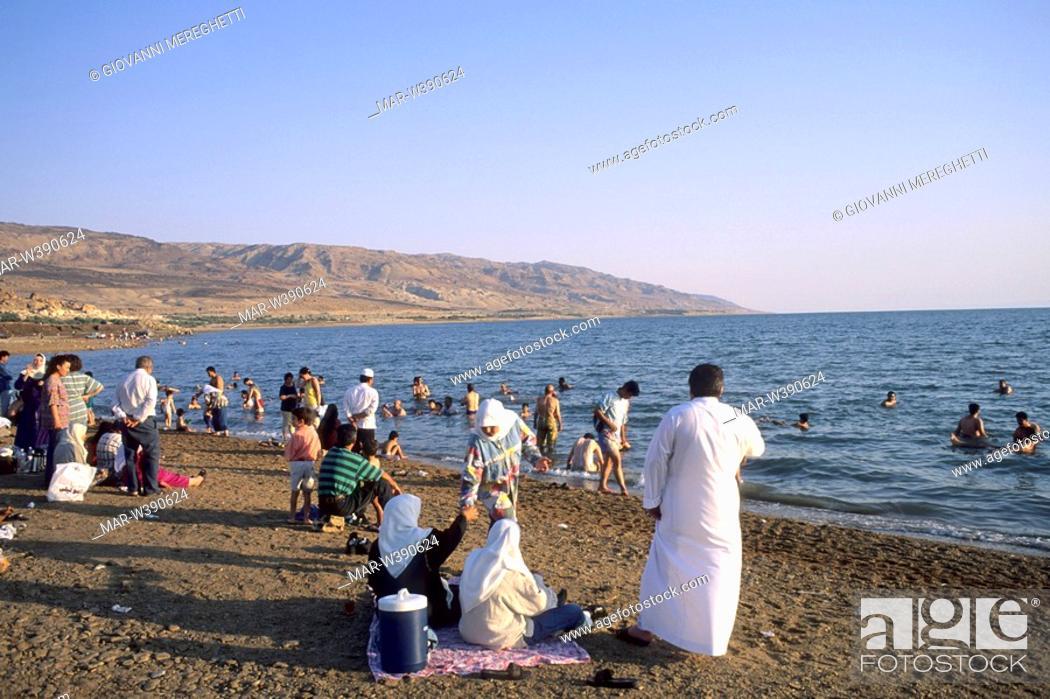 Stock Photo: spiaggia sul mar morto, giordania, asia.