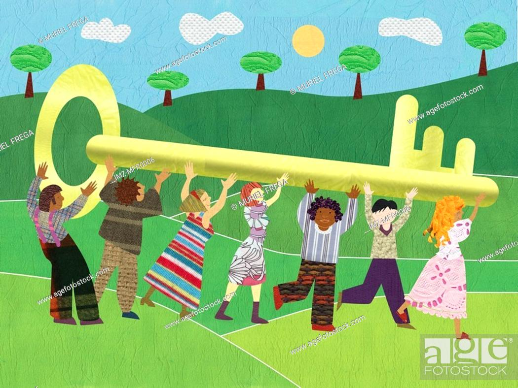 Stock Photo: People holding a giant key and running in an open field.