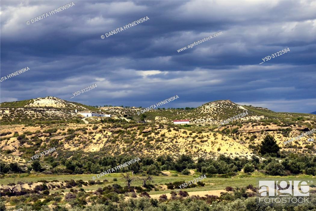 Stock Photo: Landscape of Altiplano region of Granada, Granada High Plains, view from Baza in direction of Sierra de Castril, Granada province, Andalusia, Spain, Europe.