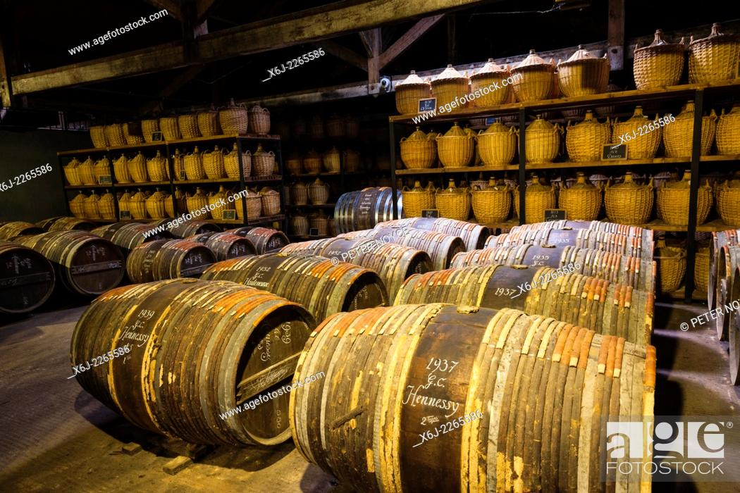Stock Photo: Hennessy ageing warehouse where the eaux-de-vie is stored in oak barrels to mature before blending.