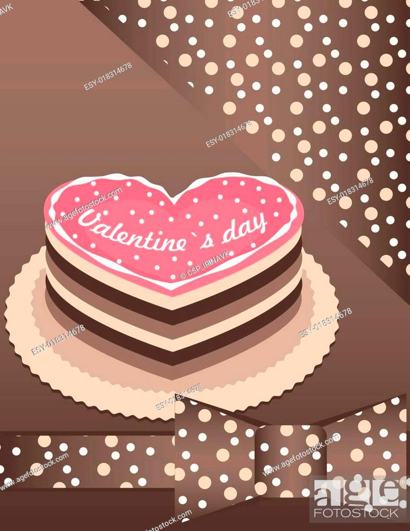 Stock Vector: background with Pink cake.