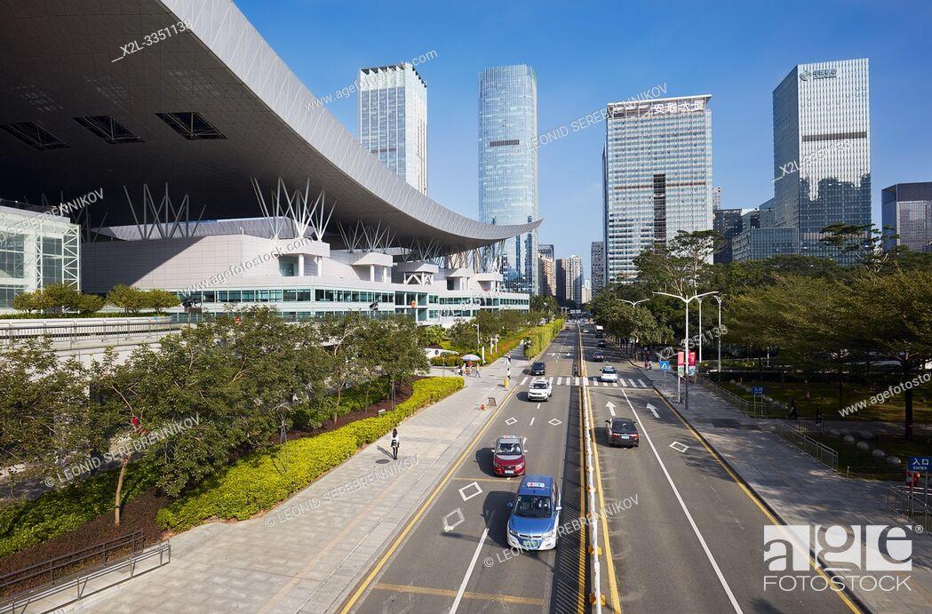 Stock Photo: Street scene at Shenzhen Civic Center. Shenzhen, Guangdong Province, China.