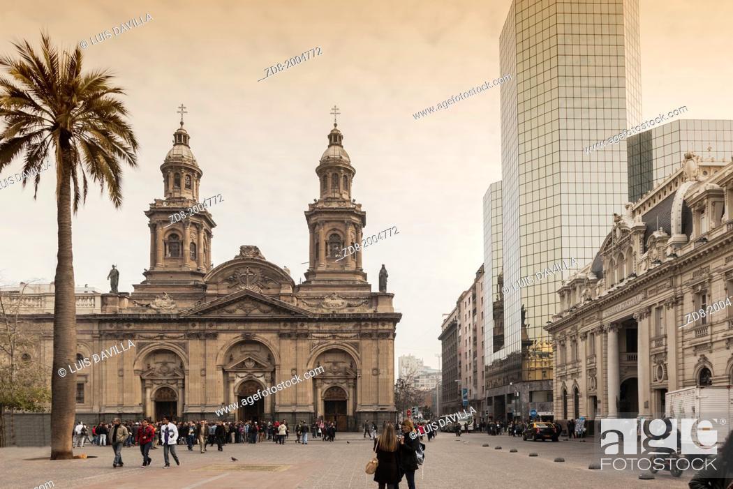 Stock Photo: metropolitan cathedral of plaza de armas (main square) in santiago de chile.