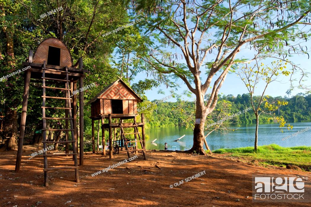 Stock Photo   Stilt Houses Of The Kroeung People, Batchelor House Built On  Stilts, On The Shore Of The Volcanic Lake Yak Loam, Yeak Laom, Beung Yeak  Loam, ...