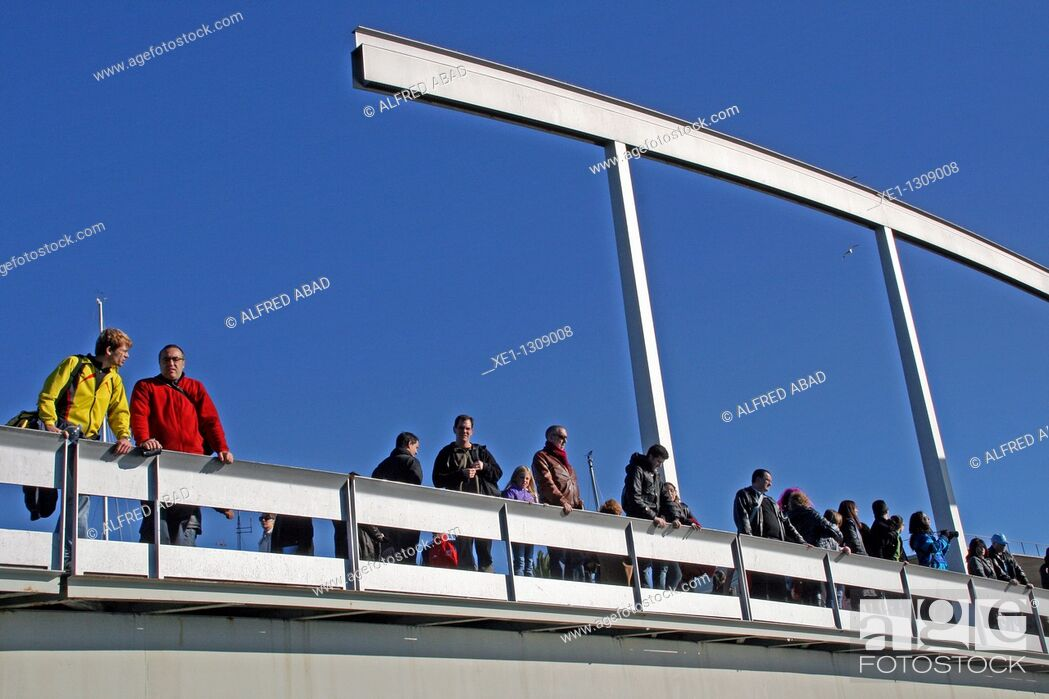 Stock Photo: Catwalk, Port Vell, Barcelona, Catalonia, Spain.