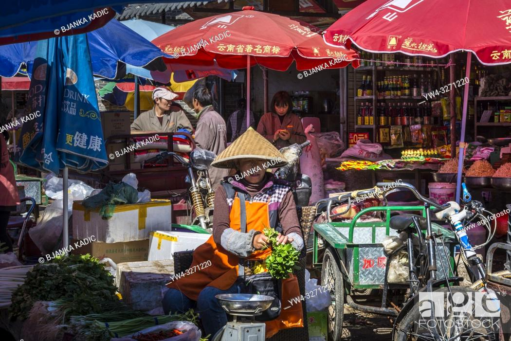Stock Photo: Zhongyi market, Old Town of Lijiang, Yunnan province, China.