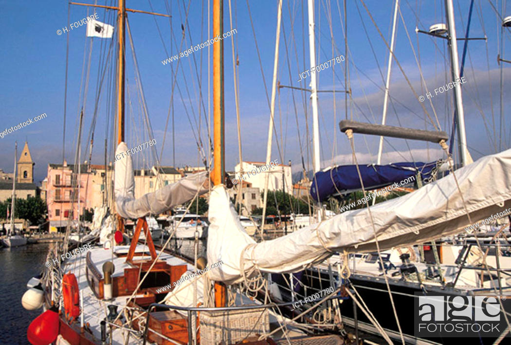 Stock Photo: France, Corsica, Saint Florent, sailboats in harbour.