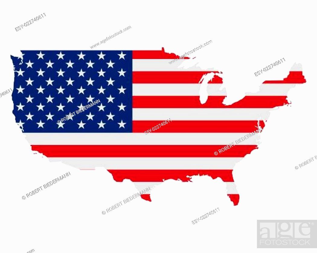 Imagen: Karte und Fahne der USA.
