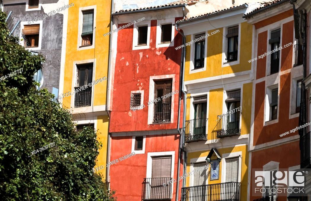 """Photo de stock: Fachadas coloreadas en la calle Alfonso VIII - Cuenca â. """" Castilla La Mancha â. """" España - Europa."""