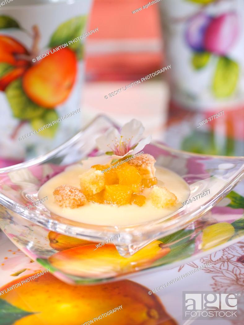 Stock Photo: apricots with almond blossoms.