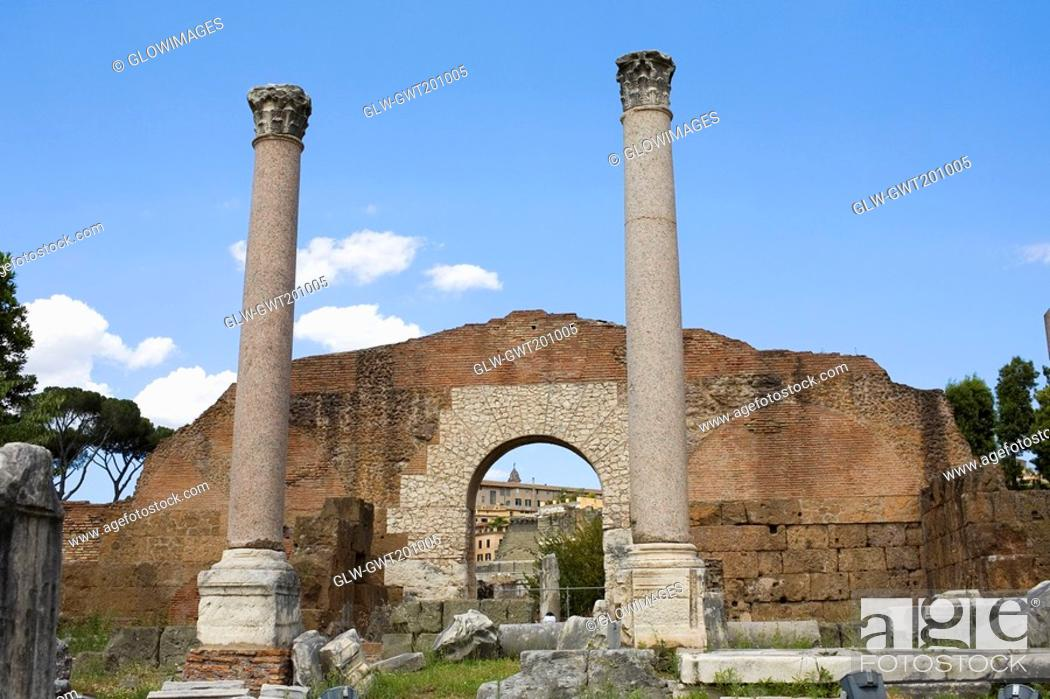 Stock Photo: Old ruins of buildings, Rome, Italy.