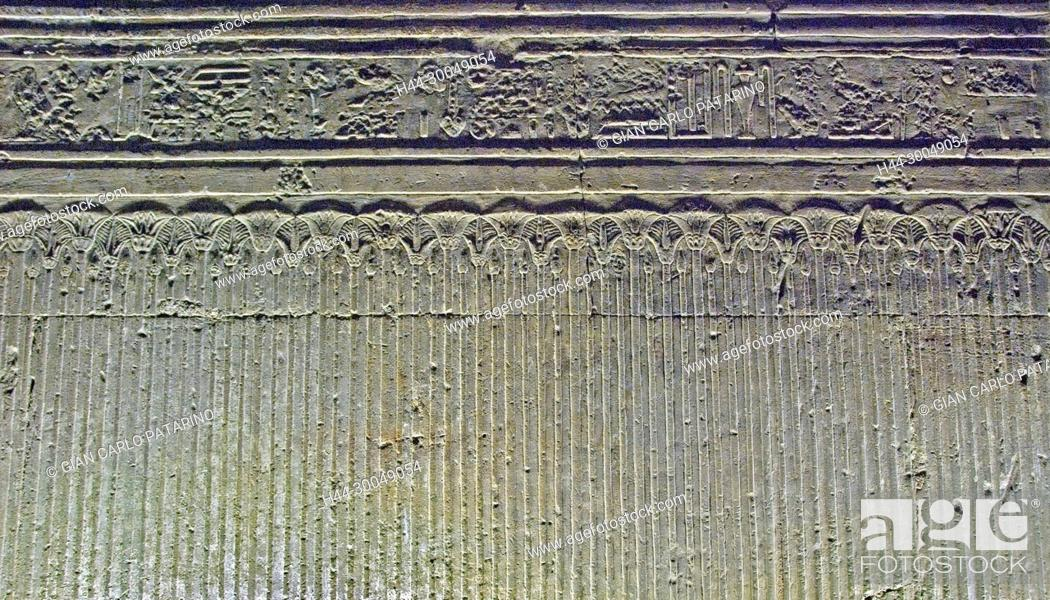 Stock Photo: Egypt,Dendera,Ptolemaic temple of the goddess Hathor.Carvings on interior wall.