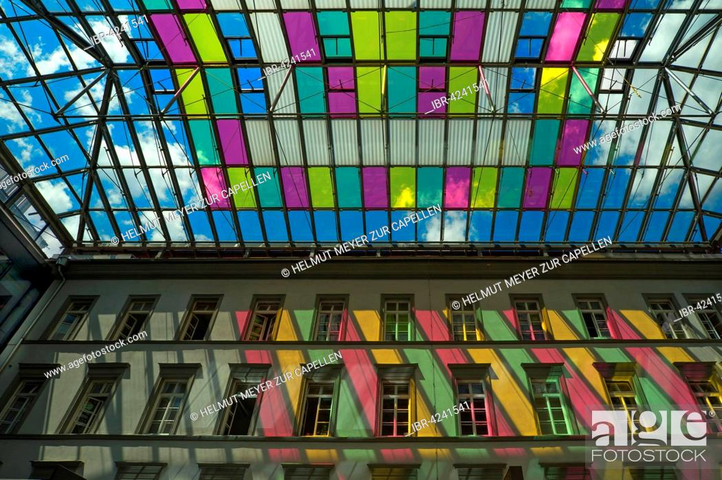 Stock Photo: Colorful glass roof at a shopping center, Innsbruck, Titol, Austria.