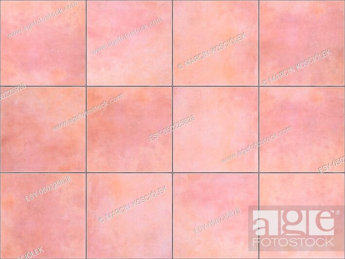Stock Photo: Seamless background or texture made of pink floor tiles.