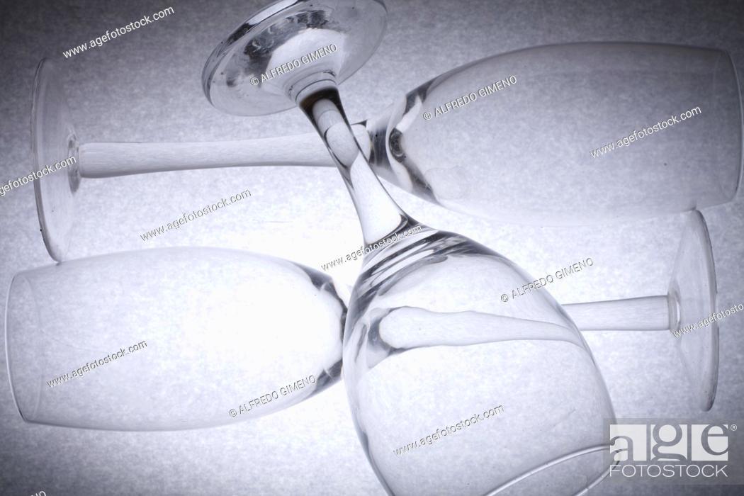 Stock Photo: champagne cava and wine glass.
