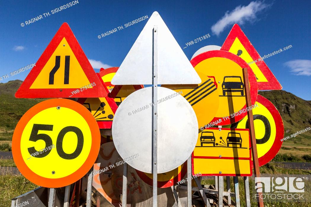 Stock Photo: Traffic signs, South Coast, Iceland.