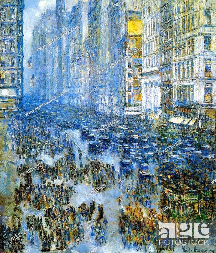 Stock Photo: Frederick Childe Hassam - Fifth Avenue Winter 1919.