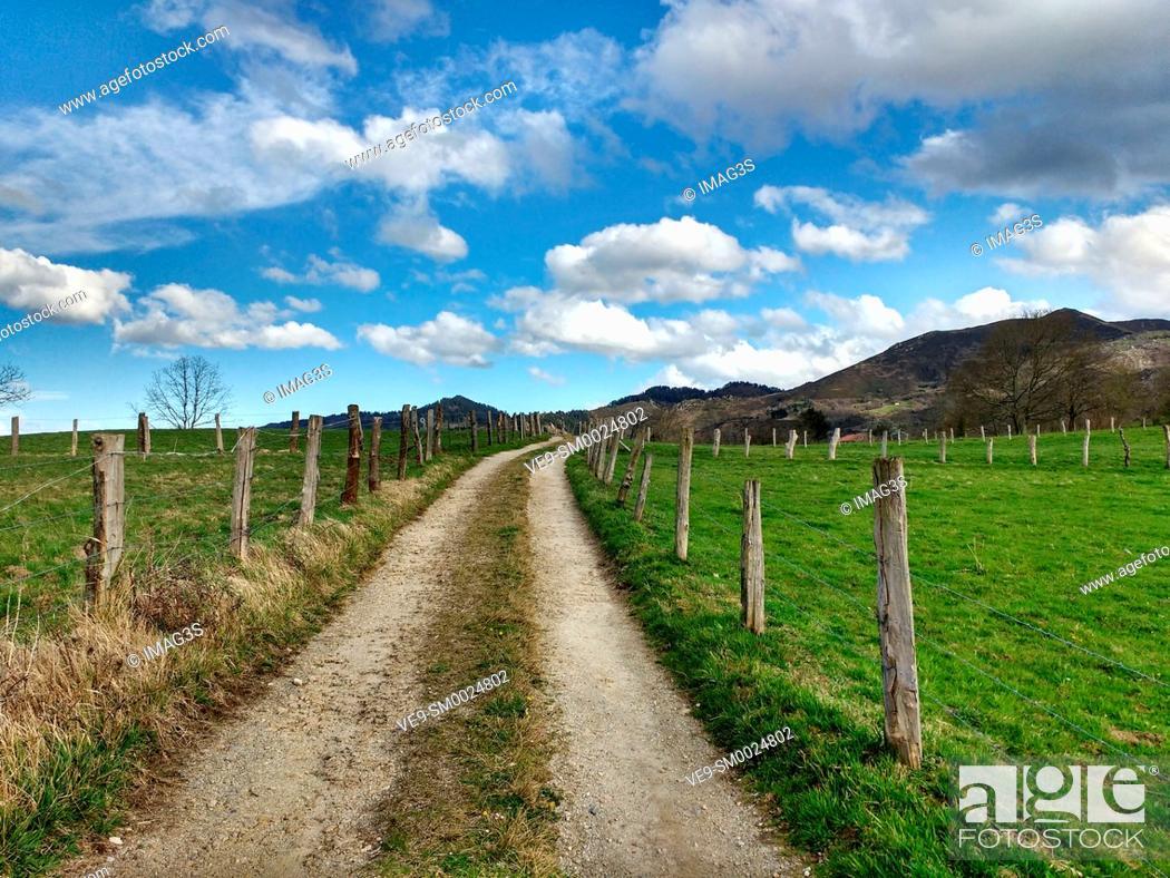 Stock Photo: Rural landscape near Nava village, Asturias, Spain.