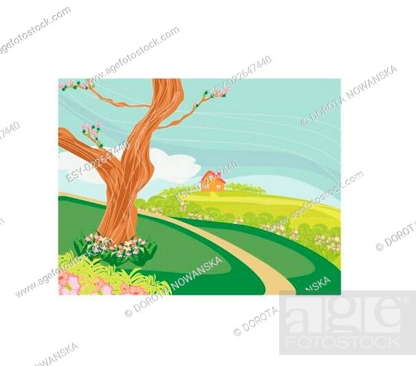 Stock Vector: Illustration of a peaceful village in spring.