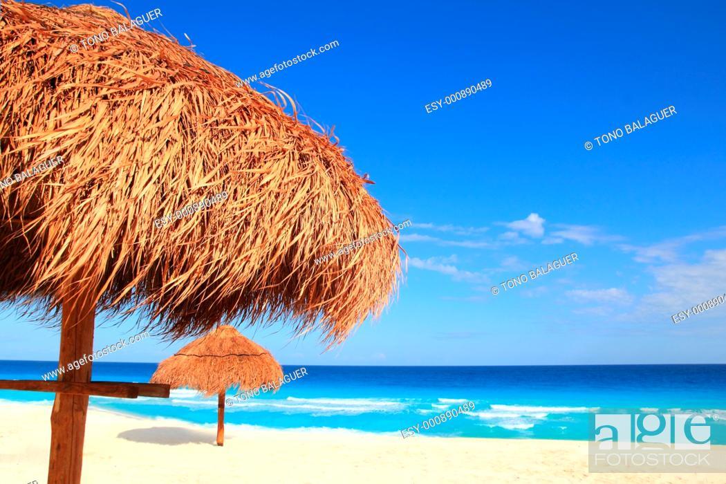Stock Photo: palapa sun roof beach umbrella in caribbean.