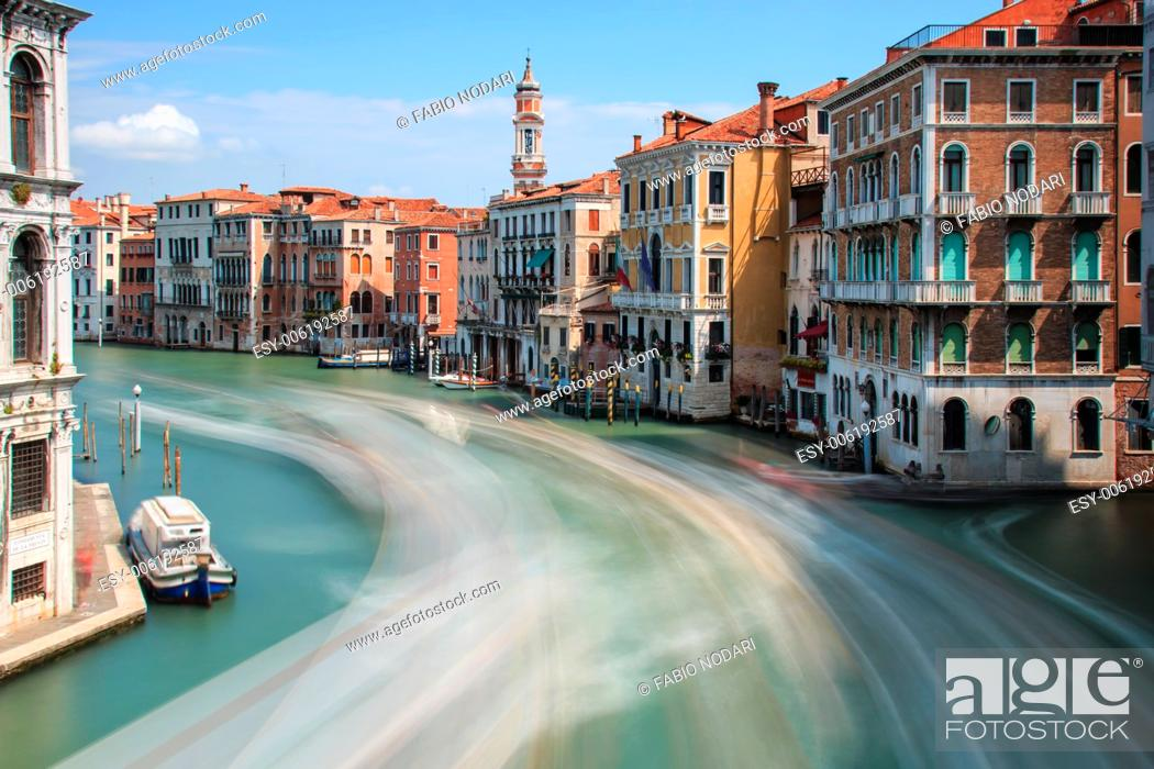 Stock Photo: Long exposure of Grand Canal in Venice, Italy.