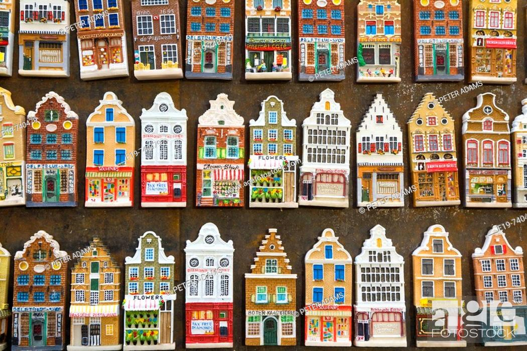 Stock Photo: Fridge Magnets of Amsterdam town houses.