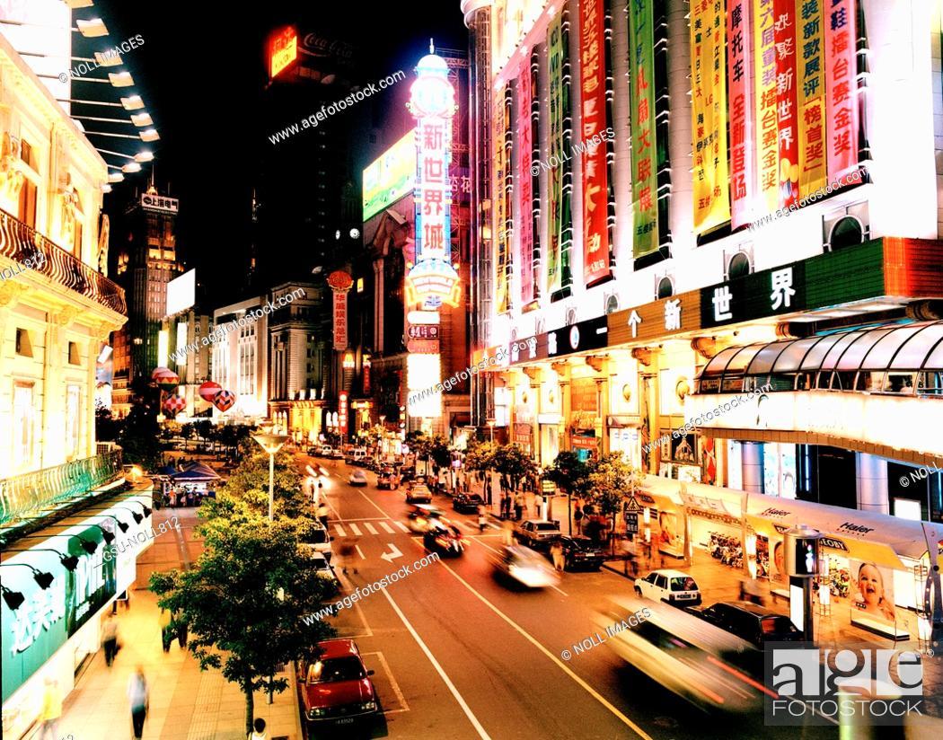 Stock Photo: Street Scene at Night, Shanghai, China.