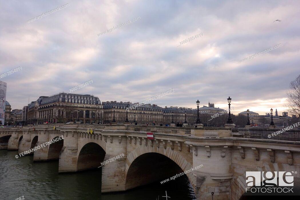 Stock Photo: Pont Neuf. River Seine. Paris. France. Europe.