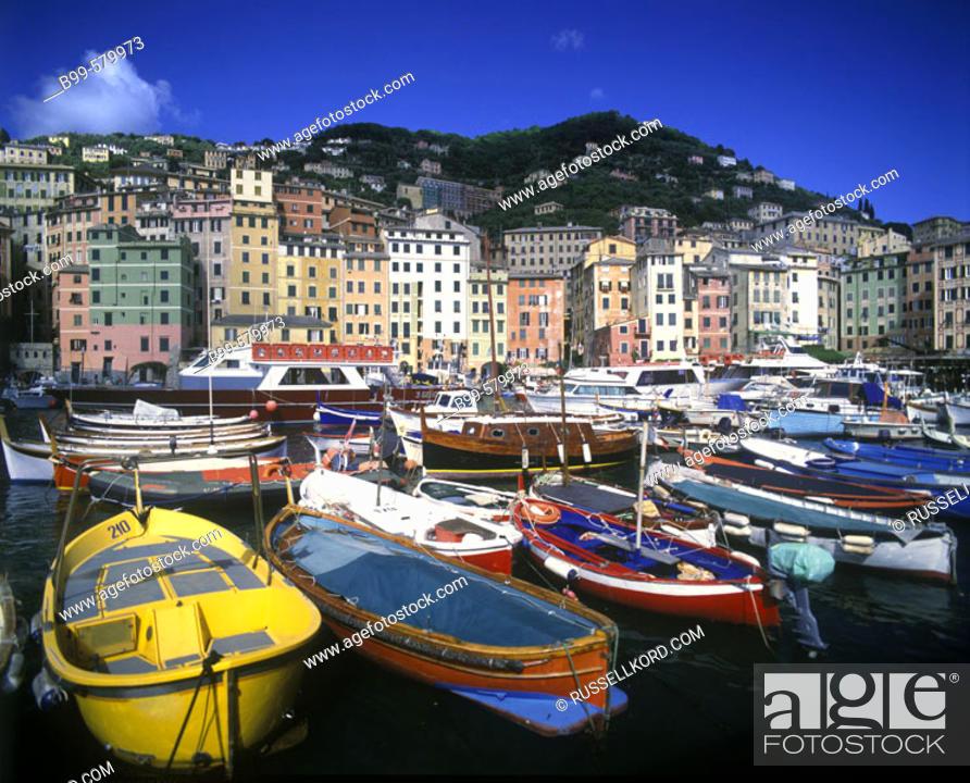 Stock Photo: Fishing Boats, Camogli, Ligurian Riviera, Italy.