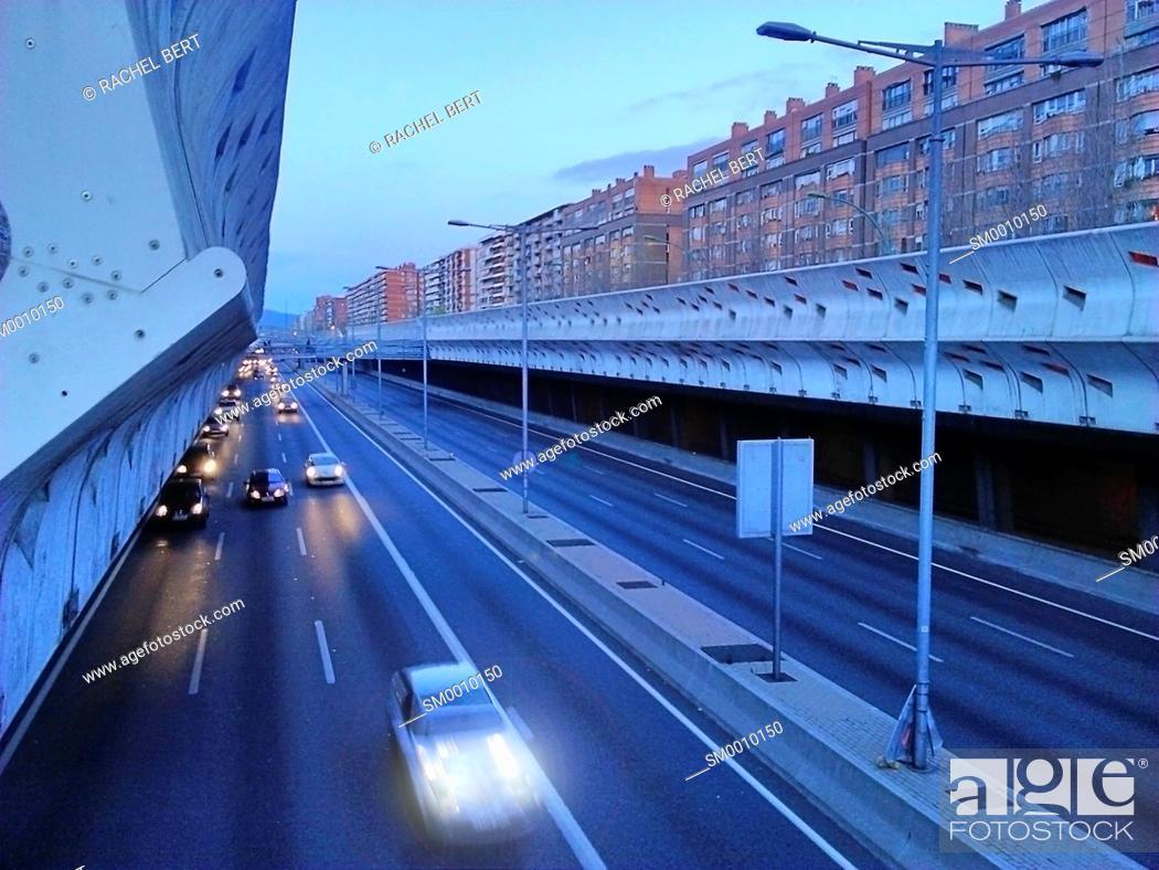 Stock Photo: Entrance to Barcelona at dusk, Gran Via, Barcelona, ??Catalonia.