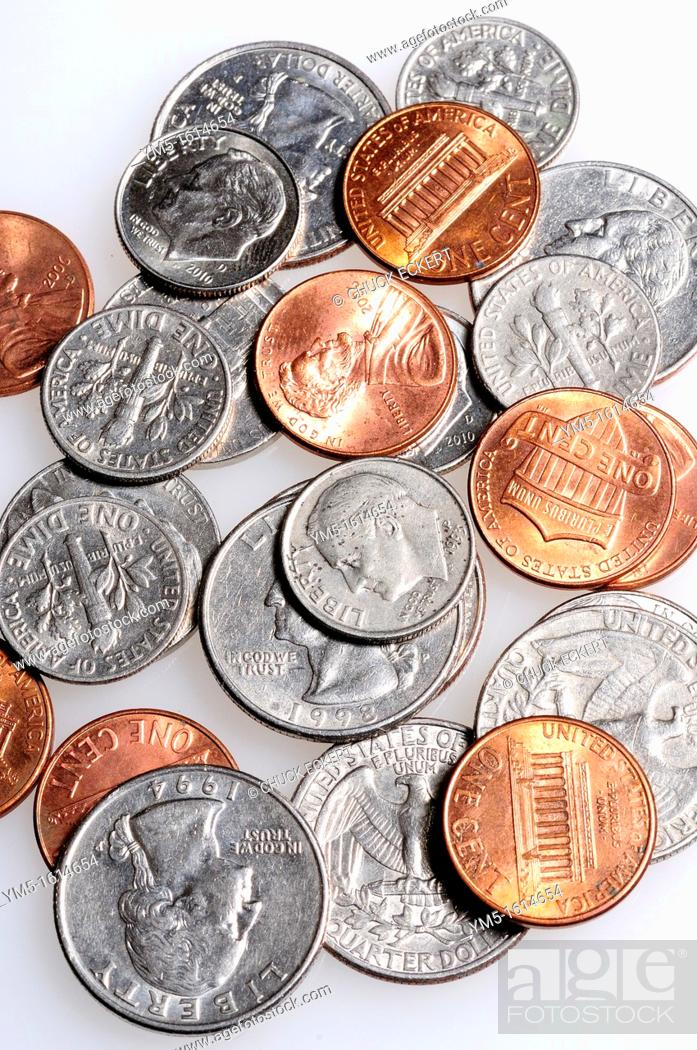Stock Photo: United States Coin Currency including quarters,dimes,nickles, and pennies.