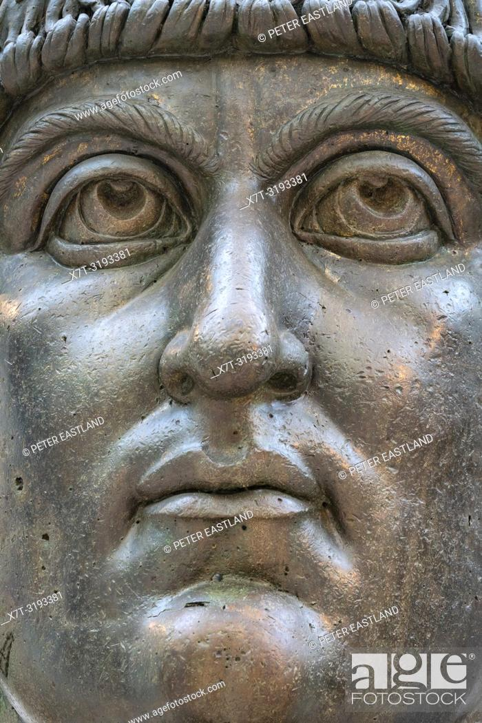 Stock Photo: The colossal bronze head of Constantine the Great in the Palazzo dei Conservatori, part of the Capitoline Museums, Rome, Italy.