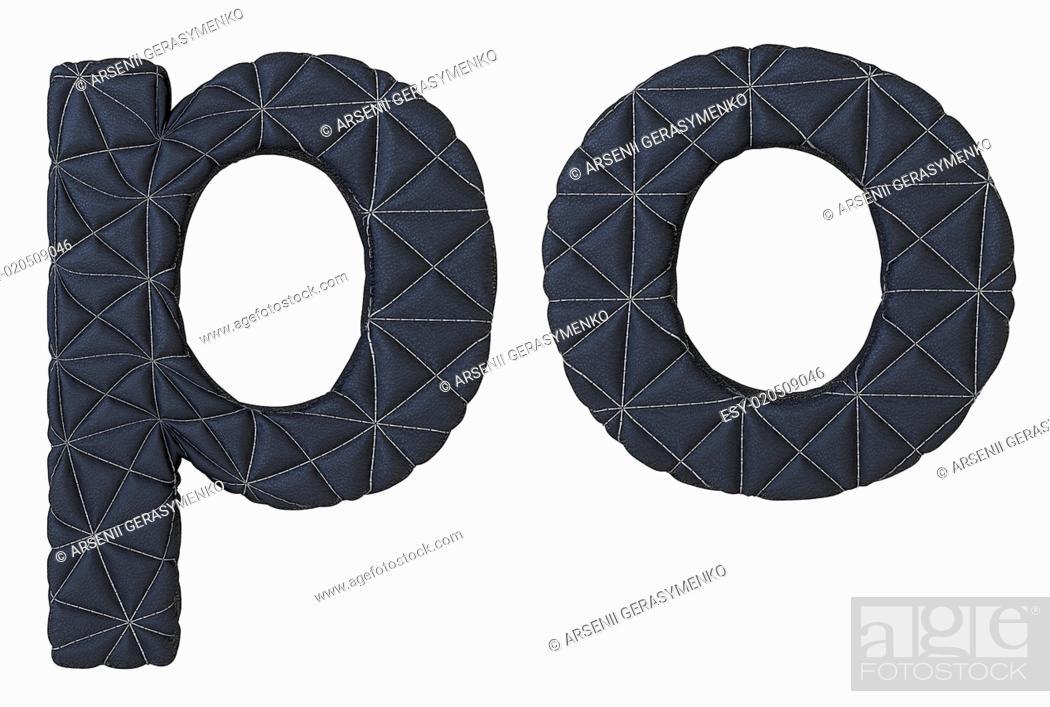 Stock Photo: Lowercase stitched leather font p o letters.