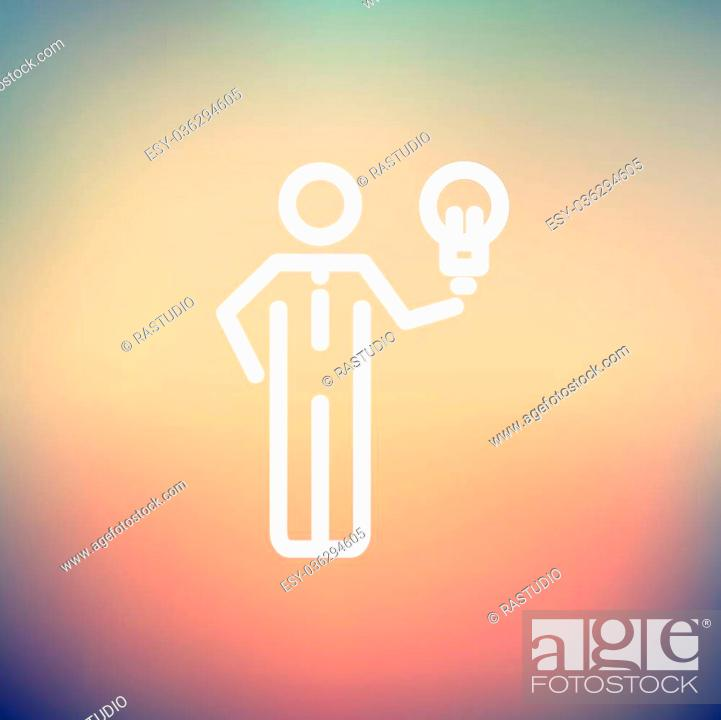 Stock Vector: Man holding idea icon thin line for web and mobile, modern minimalistic flat design. Vector white icon on gradient mesh background.
