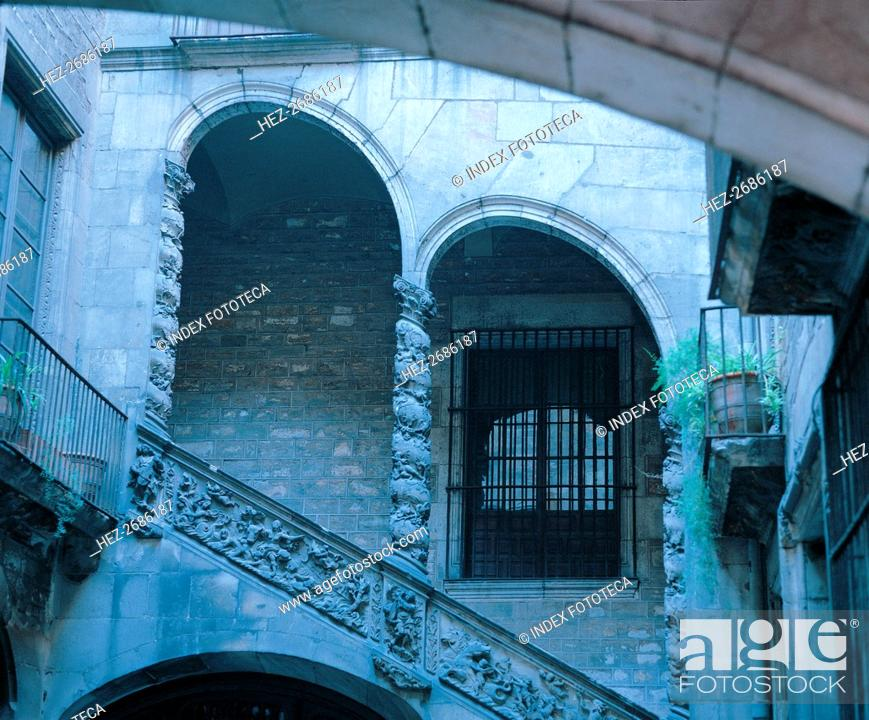 Stock Photo: Detail of the staircase in the courtyard of the Dalmases Palace, Catalan baroque architecture fro?.