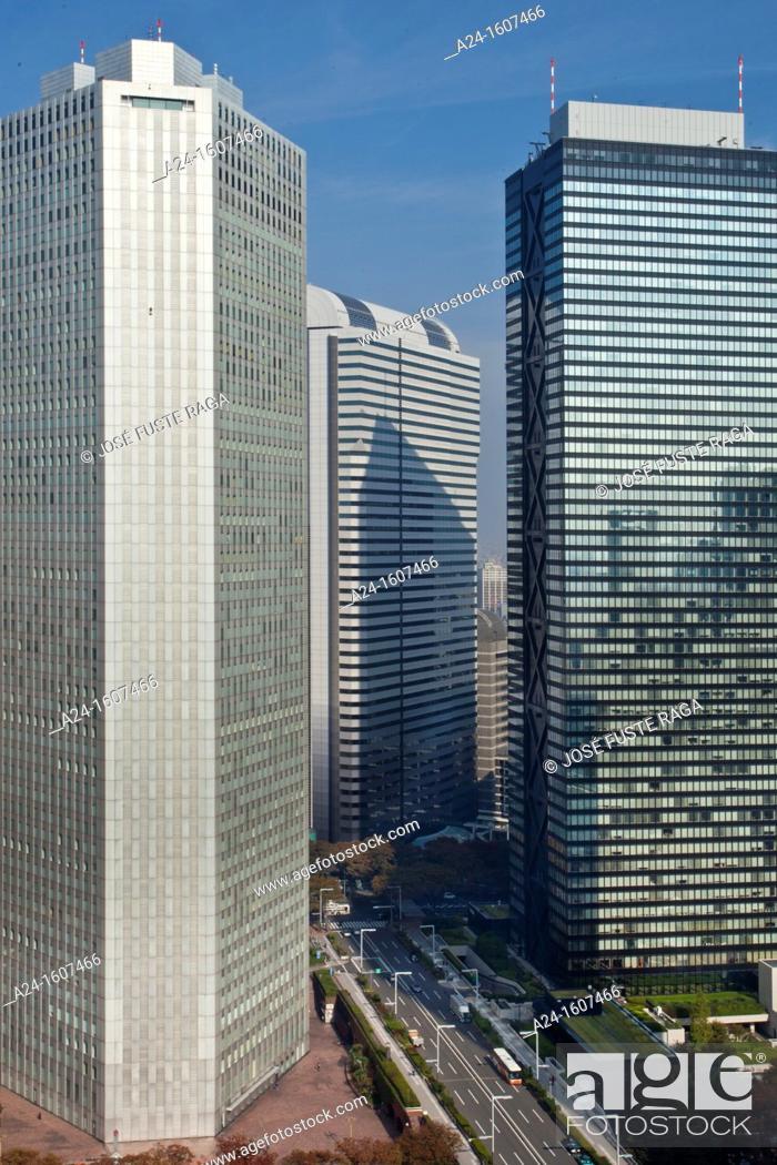 Stock Photo: Sumitomo and Mitsui buildings, West Side Shinjuku district, Tokyo, Japan.