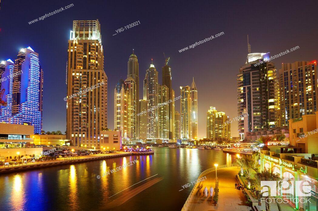Stock Photo: Dubai Marina by night, modern skyscrapers on the canal, Dubai, United Arab Emirates.