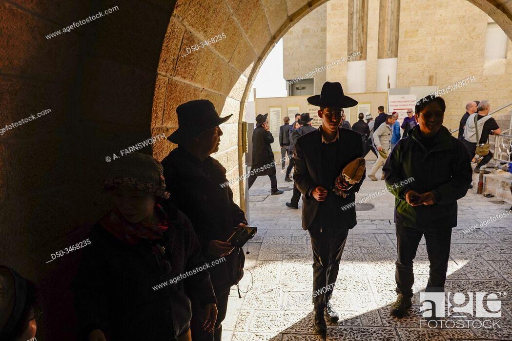 Stock Photo: Jerusalem, Israel Pedestrians at the Western Wall.