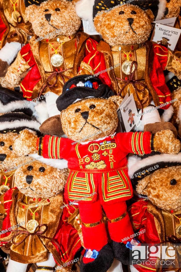 Stock Photo: England, London, Tower of London, Souvenir Shop Display of Bears.