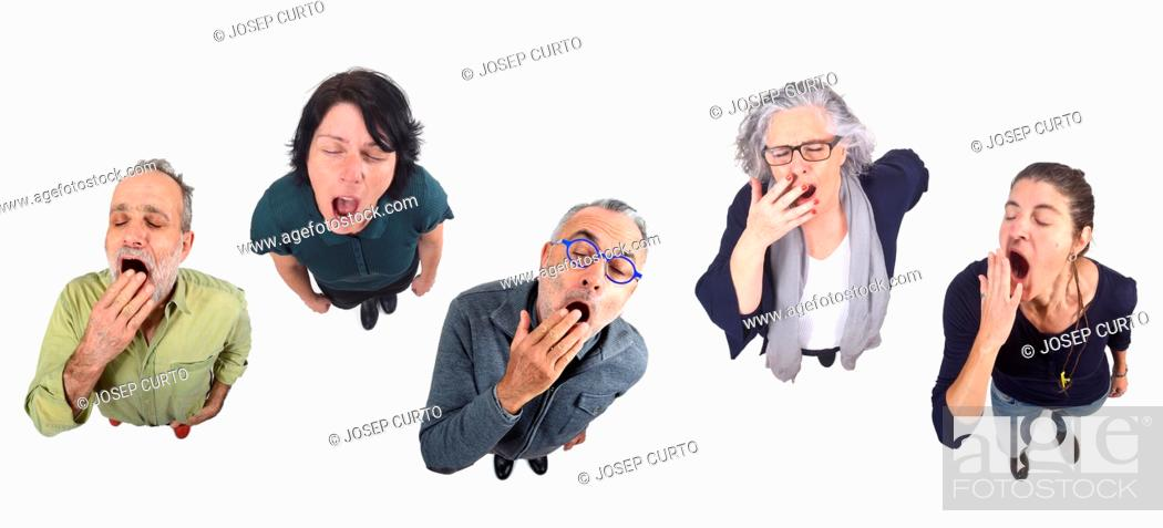 Stock Photo: group of people yawning on white background.