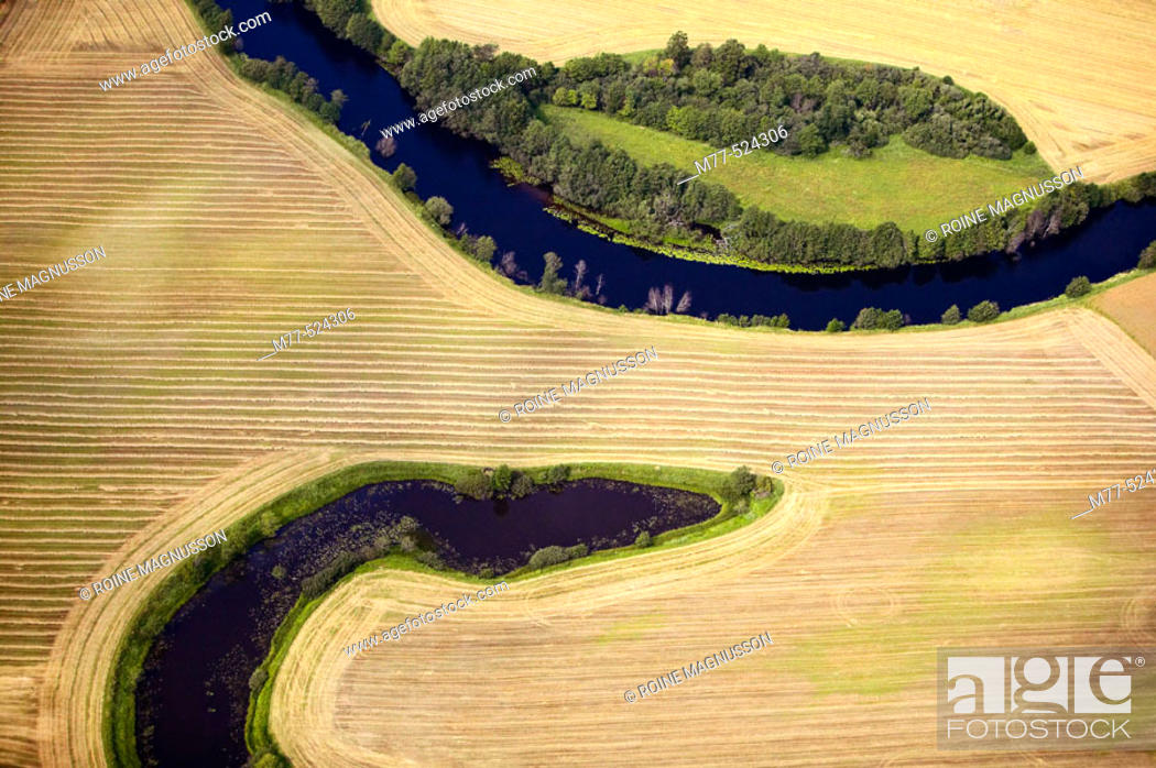 Stock Photo: Small rivers in agricultural landscape, meandring, aerial view. Småland. Sweden.