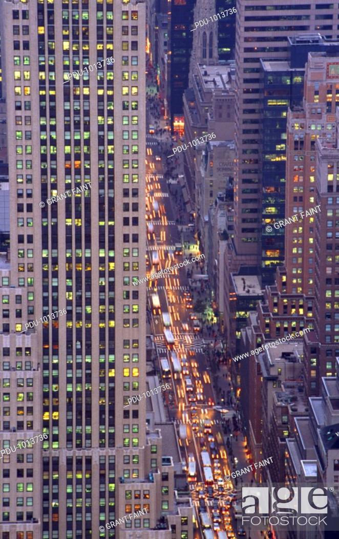 Stock Photo: USA, New York, Fifth Avenue, street, dusk, aerial view.