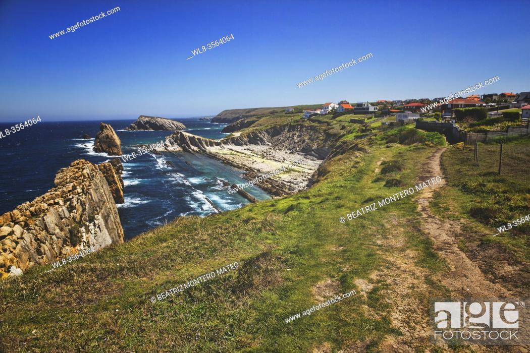 Stock Photo: Arnia beach with the village Liencres in Santander, Spain.