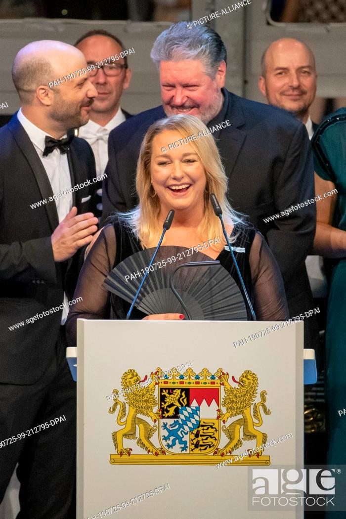 Stock Photo: 25 July 2019, Bavaria, Bayreuth: Katharina Wagner, artistic director and managing director of the Bayreuth Festival, speaks at the state reception on the.
