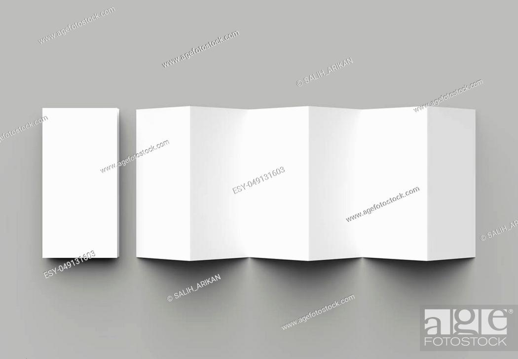 Stock Photo: 12 page leaflet, 6 panel accordion fold - Z fold vertical brochure mock up isolated on gray background. 3D illustration.