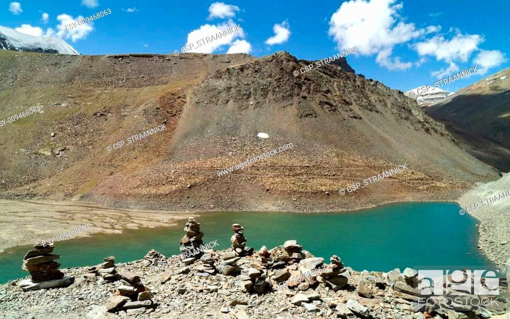 Stock Photo: Suraj Taal mountain lake with the Buddhist stupa.