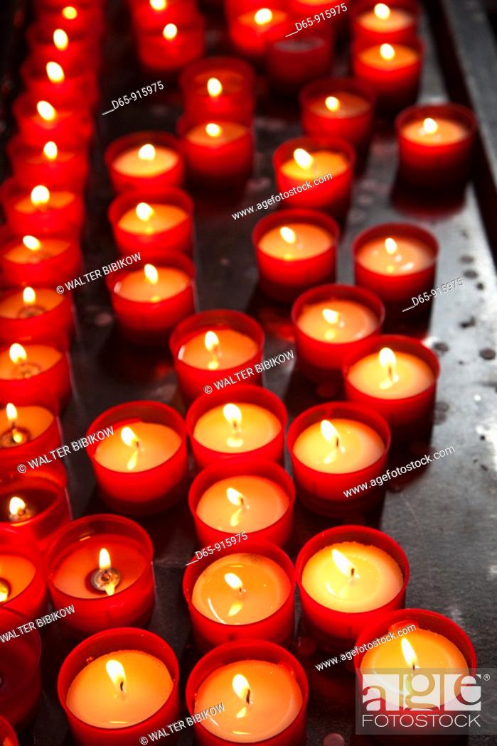Stock Photo: Italy, Lombardy, Lakes Region, Lake Como, Como, Duomo cathedral, votive candles, interior.