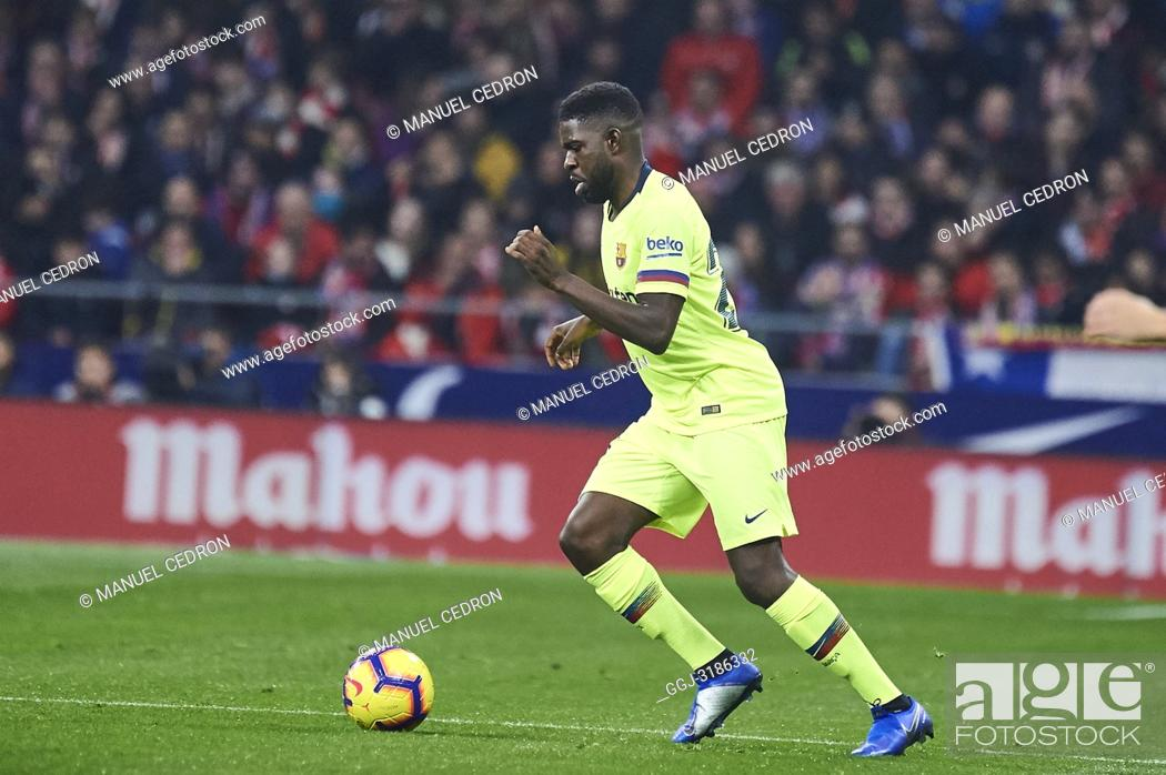 Stock Photo: Samuel Umtiti (defender; Barcelona) before La Liga match between Atletico de Madrid and F.C. Barcelona at Wanda Metropolitano on November 24, 2018 in Madrid.