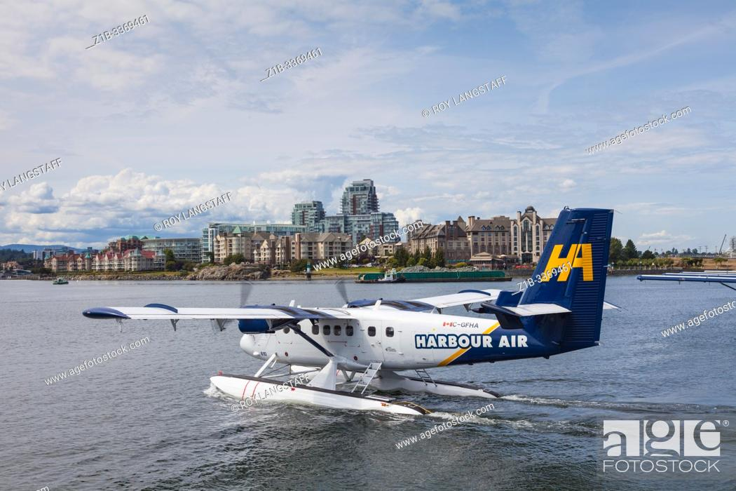 Stock Photo: Twin Otter seaplane departing from Victoria Harbour, British Columbia Canada.
