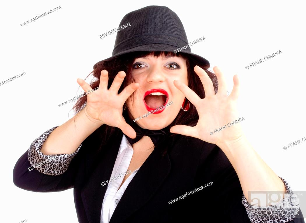 Stock Photo: Young Woman in Hat Posing Hands as Claws - Isolated on White.